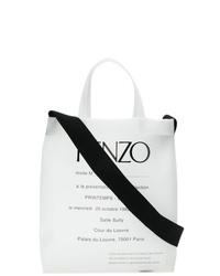 weiße und schwarze bedruckte Shopper Tasche aus Segeltuch von Kenzo