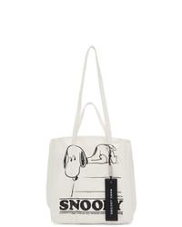 weiße und schwarze bedruckte Shopper Tasche aus Segeltuch von Marc Jacobs