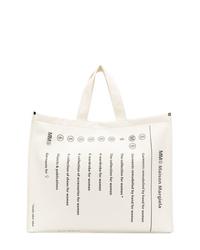 weiße und schwarze bedruckte Shopper Tasche aus Segeltuch von MM6 MAISON MARGIELA