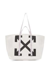 weiße und schwarze bedruckte Shopper Tasche aus Segeltuch von Off-White