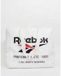 weiße und schwarze bedruckte Shopper Tasche aus Segeltuch von Reebok