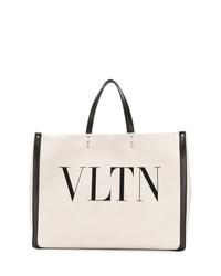 weiße und schwarze bedruckte Shopper Tasche aus Segeltuch von Valentino
