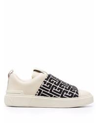weiße und schwarze bedruckte Slip-On Sneakers aus Leder von Balmain