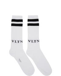 weiße und schwarze bedruckte Socken von Valentino