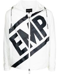 weiße und schwarze bedruckte Windjacke von Emporio Armani
