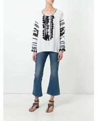 weiße und schwarze bestickte Folklore Bluse von Dodo Bar Or
