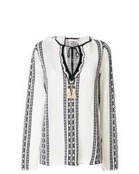 weiße und schwarze bestickte Folklore Bluse von Tory Burch