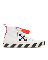 weiße und schwarze bestickte hohe Sneakers aus Segeltuch von Off-White