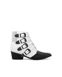 weiße und schwarze Cowboystiefel aus Leder von Toga Pulla