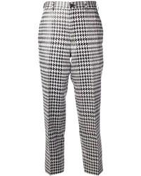 weiße und schwarze enge Hose mit Hahnentritt-Muster von Comme des Garcons