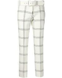 weiße und schwarze enge Hose mit Karomuster