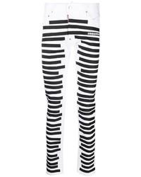 weiße und schwarze enge Jeans von DSQUARED2