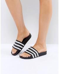 weiße und schwarze flache Sandalen aus Leder von adidas Originals