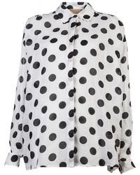 weiße und schwarze gepunktete Bluse mit Knöpfen