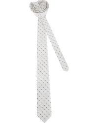 weiße und schwarze gepunktete Krawatte