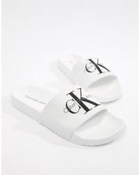 weiße und schwarze Gummi Sandalen von Calvin Klein