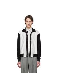 weiße und schwarze Harrington-Jacke