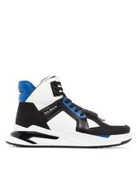 weiße und schwarze hohe Sneakers aus Leder von Balmain