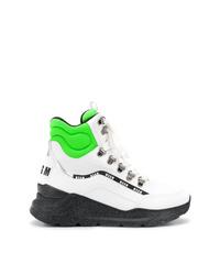 weiße und schwarze hohe Sneakers aus Leder von MSGM