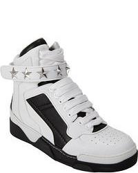 weiße und schwarze Hohe Sneakers