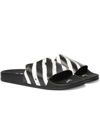 weiße und schwarze horizontal gestreifte Gummi Sandalen von Off-White