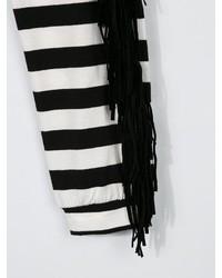 weiße und schwarze horizontal gestreifte Leggings