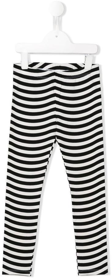 weiße und schwarze horizontal gestreifte Leggings von Fendi