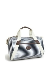 weiße und schwarze horizontal gestreifte Shopper Tasche aus Segeltuch