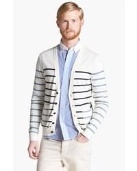 weiße und schwarze horizontal gestreifte Strickjacke mit einem Schalkragen