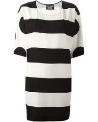 weiße und schwarze horizontal gestreifte Tunika von Moschino