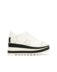 weiße und schwarze klobige Leder Oxford Schuhe von Stella McCartney