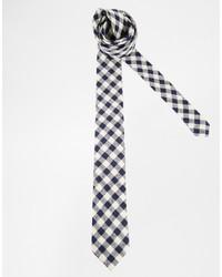 weiße und schwarze Krawatte mit Vichy-Muster von Asos