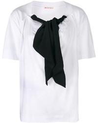 weiße und schwarze Kurzarmbluse von Marni