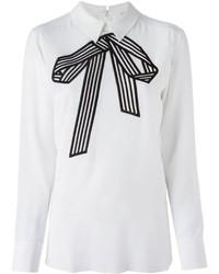 weiße und schwarze Langarmbluse von Stella McCartney