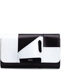 weiße und schwarze Leder Clutch von Perrin Paris