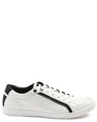 weiße und schwarze Leder niedrige Sneakers