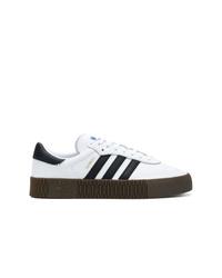 weiße und schwarze Leder niedrige Sneakers von adidas