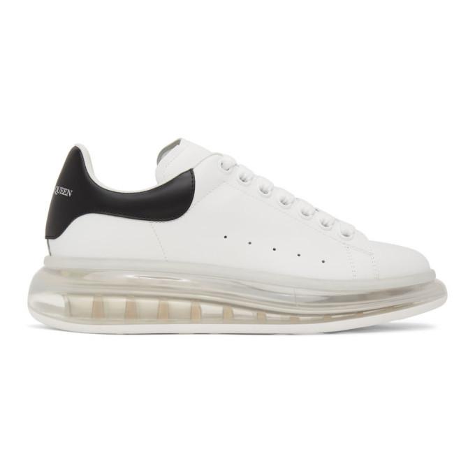 weiße und schwarze Leder niedrige Sneakers von Alexander McQueen