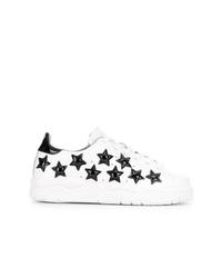 weiße und schwarze Leder niedrige Sneakers von Chiara Ferragni