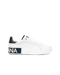weiße und schwarze Leder niedrige Sneakers von Dolce & Gabbana