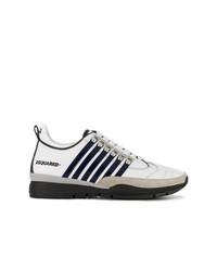 weiße und schwarze Leder niedrige Sneakers von DSQUARED2