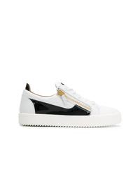 weiße und schwarze Leder niedrige Sneakers von Giuseppe Zanotti Design