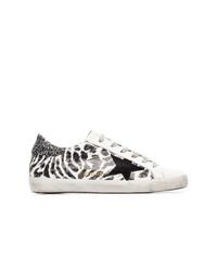 weiße und schwarze Leder niedrige Sneakers von Golden Goose Deluxe Brand