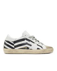 weiße und schwarze Leder niedrige Sneakers von Golden Goose