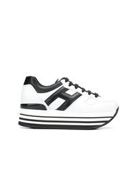 weiße und schwarze Leder niedrige Sneakers von Hogan