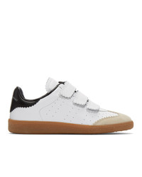 weiße und schwarze Leder niedrige Sneakers von Isabel Marant