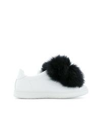 weiße und schwarze Leder niedrige Sneakers von Joshua Sanders
