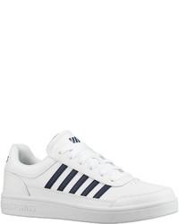 weiße und schwarze Leder niedrige Sneakers von K-Swiss