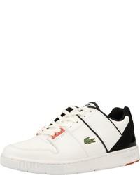 weiße und schwarze Leder niedrige Sneakers von Lacoste