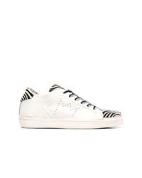weiße und schwarze Leder niedrige Sneakers von Leather Crown